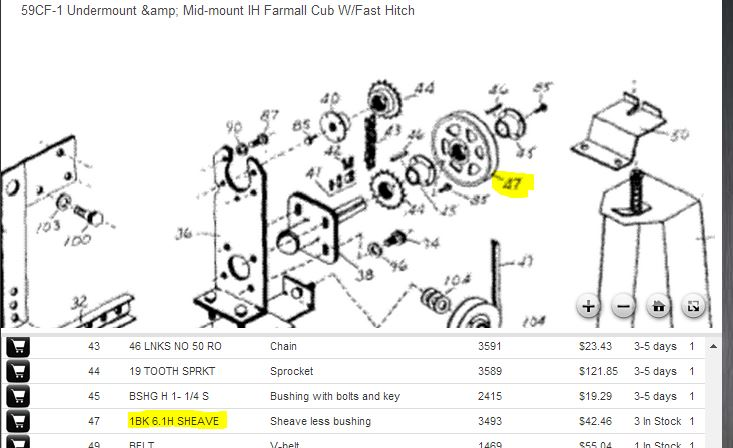 pulley  sprocket sizes on woods 59cf-1 mower